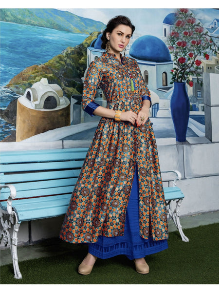 Beautiful Multi Color Printed Heavy Rayon with Katha Cotton Kurti