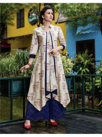 Beautiful Cream Color Printed Heavy Rayon with Katha Cotton Kurti