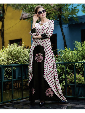 Beautiful Cream and Black Color Printed Heavy Rayon with Katha Cotton Kurti