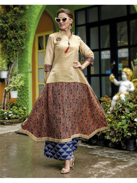 Beautiful Beige Color Printed Heavy Rayon with Katha Cotton Kurti