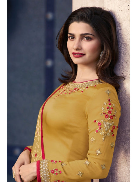 Designer Embroidered Georgette Mustard Color Straight Cut Suit