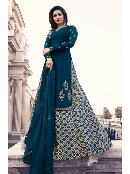 Designer Embroidered Georgette Blue Color Straight Cut Suit