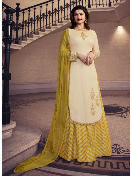 Designer Embroidered Silk Cream Color Straight Cut Suit