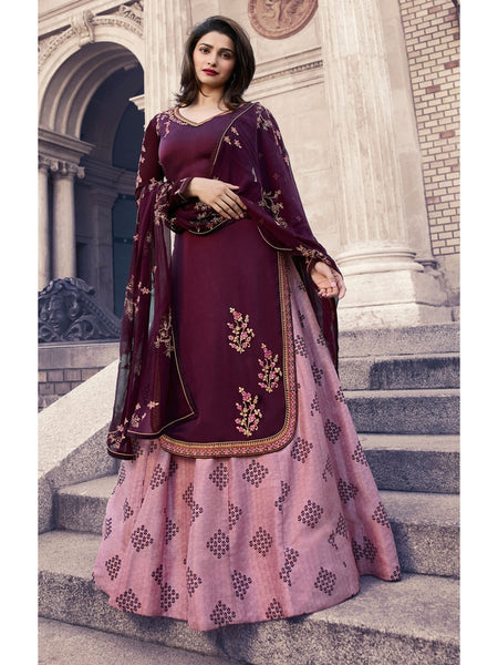 Designer Embroidered Georgette Dark Wine Color Straight Cut Suit