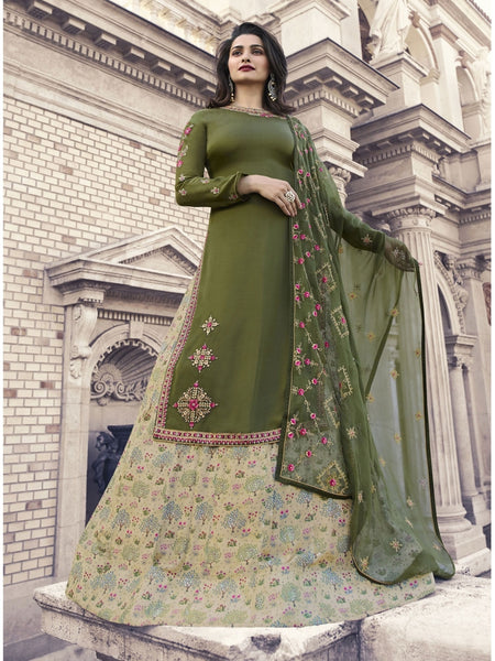 Designer Embroidered Georgette Dark Olive Green Color Straight Cut Suit