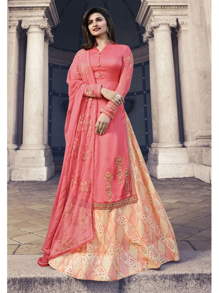 Designer Embroidered Georgette Pink Color Straight Cut Suit