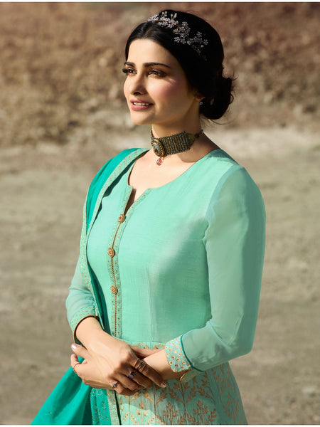 Gorgeous Firozi & Turquoise Color Embroidered Anarkali Suit