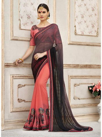 Beautiful Black & Peach Georgette Printed Saree