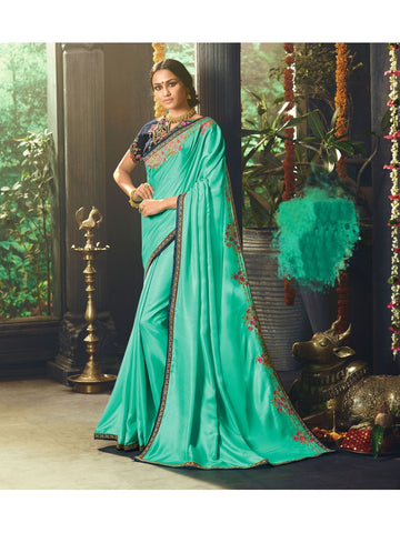 Designer Rama Color Heavy Zari, Resham embroidery with stone work and Lace border Saree