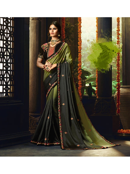 Designer Mehendi Color Heavy Zari, Resham embroidery with stone work and Lace border Saree