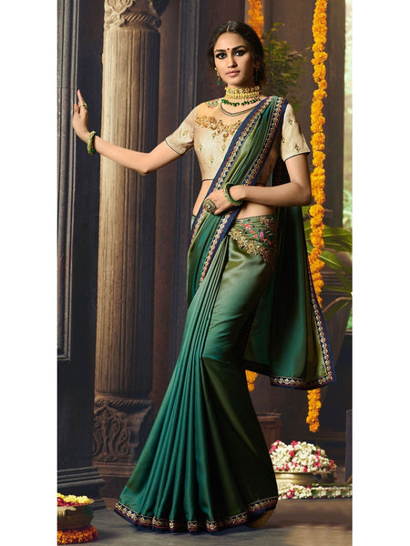 Designer Green Color Heavy Zari, Resham embroidery with stone work and Lace border Saree