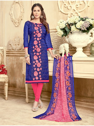 Elegantly Designed  Blue & Pink Straight Cut Suits