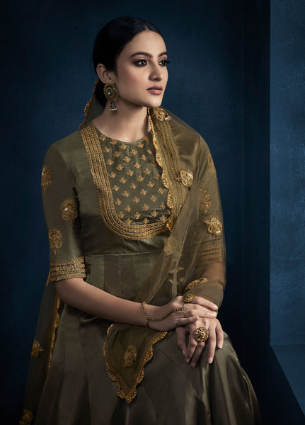Designer and Beautiful Dark Cream Color Satin Georgette Anarkali Suits
