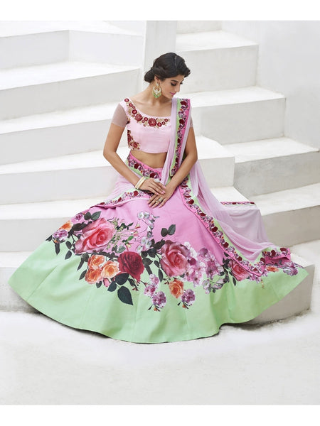 Pure Heritage Silk Light Green&Baby Pink Lehenga for Mother