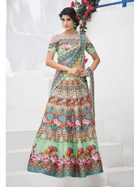 Pure Heritage Silk Green&Blue Lehenga for Mother