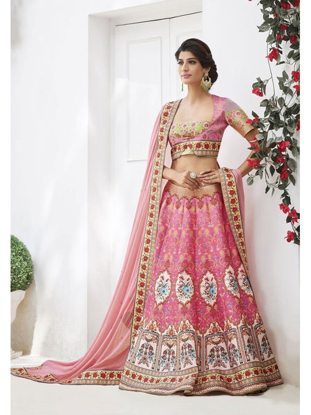 Pure Heritage Silk Pink&Cream Lehenga for Mother