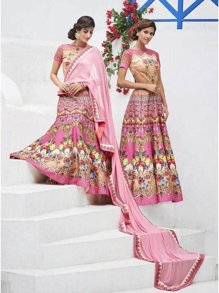 Pure Heritage Silk Pink Lehenga for Mother