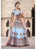 Pure Heritage Silk Light Blue Lehenga for Mother