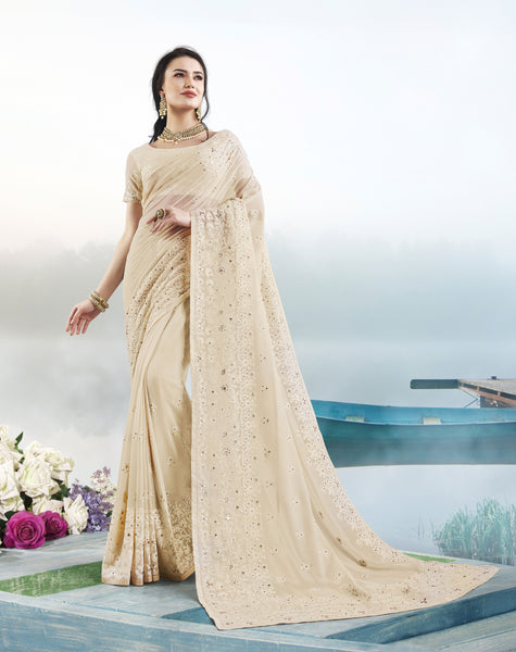 Designer Cream Colour Pure Georgette Saree