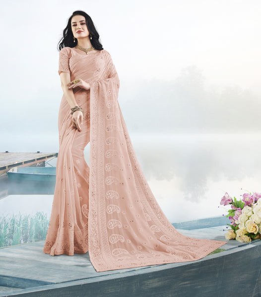 Designer Peach Colour Pure Georgette Saree