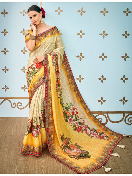 Designer and Beautiful Cream & Orange Color Silk Saree