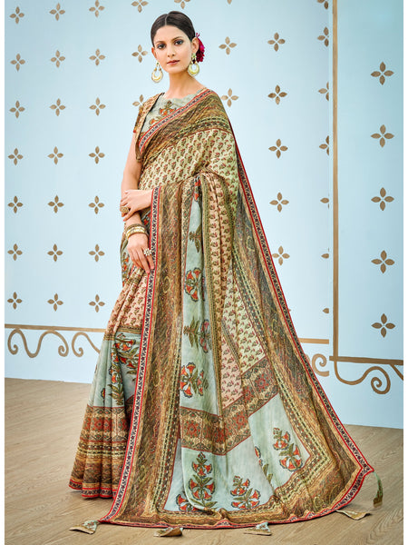 Designer and Beautiful Sea Green & Cream Color Silk Saree