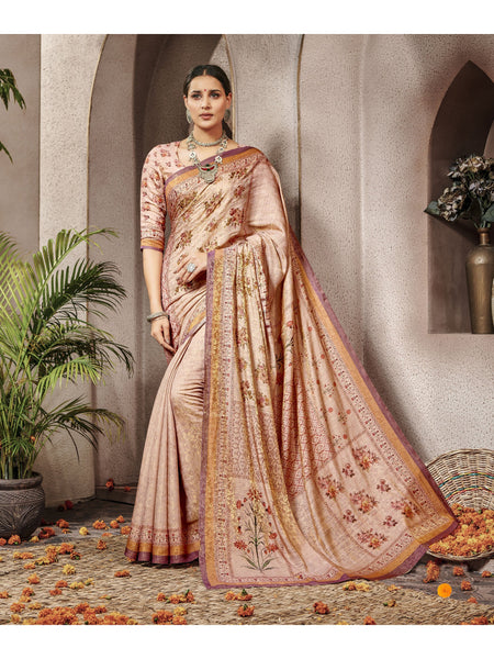 Designer and Beautiful Peach Color Saree