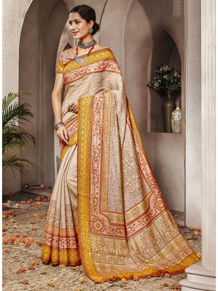Designer and Beautiful Cream Color Saree