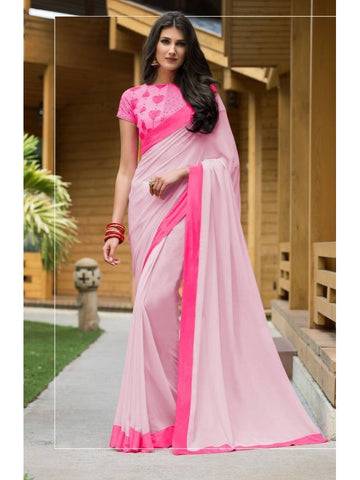 Stunning Look Zari, resham embroidery with stone work and lace border Peach Saree