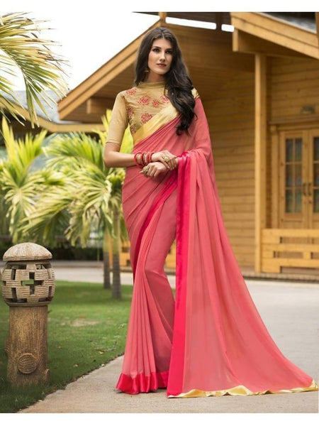 Stunning Look Zari, resham embroidery with stone work and lace border Pink Saree