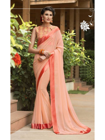 Stunning Look Zari, resham embroidery with stone work and lace border Orange Saree