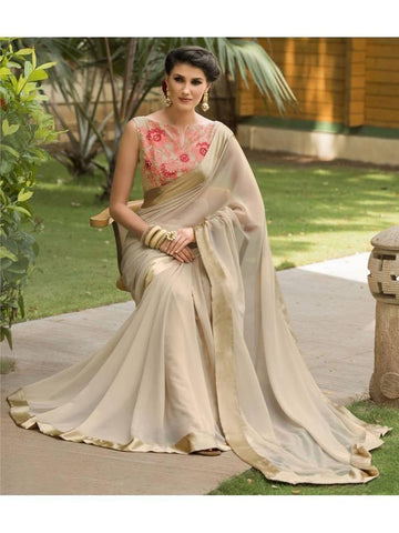 Stunning Look Zari, resham embroidery with stone work and lace border Cream Saree