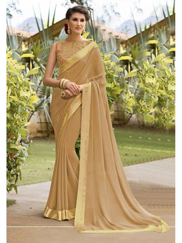 Stunning Look Zari, resham embroidery with stone work and lace border Beige Saree