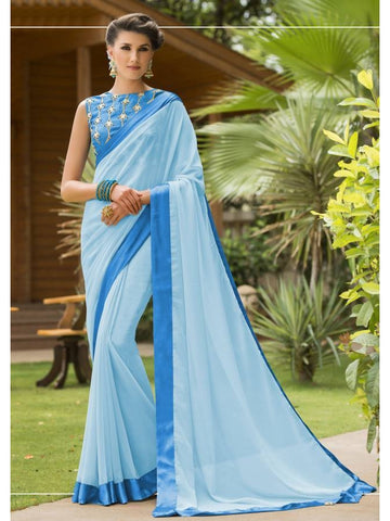 Stunning Look Zari, resham embroidery with stone work and lace border Light Blue Saree