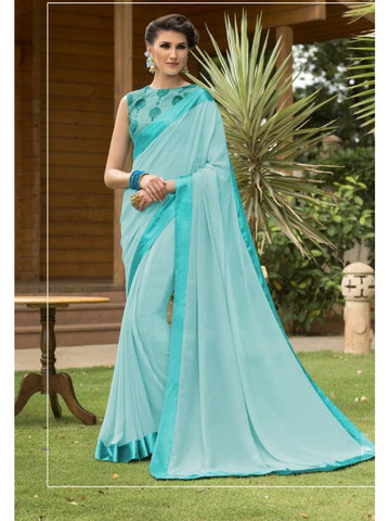 Stunning Look Zari, resham embroidery with stone work and lace border Sky Blue Saree