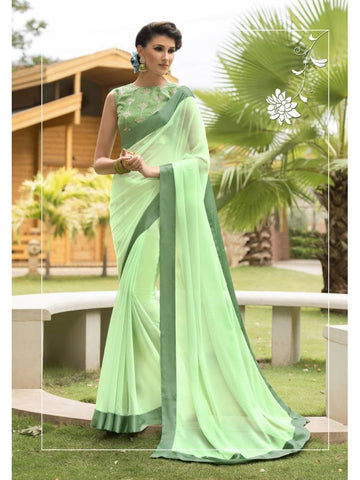 Stunning Look Zari, resham embroidery with stone work and lace border Light Green Saree