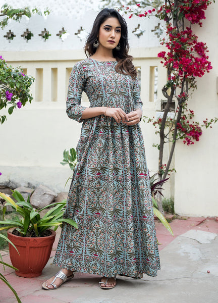 Beautiful and Designer Pure Maslin Light Blue Gown
