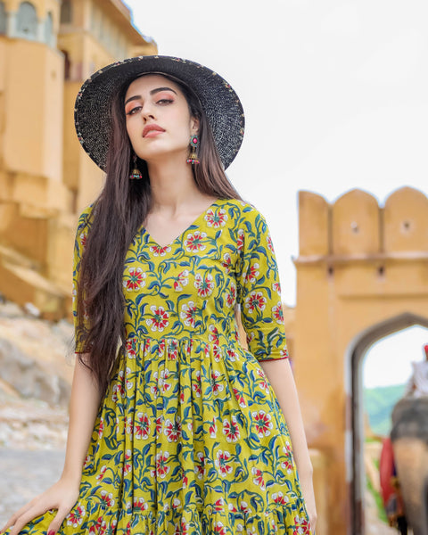 Beautiful and Designer Pure Maslin Parrot Green Gown