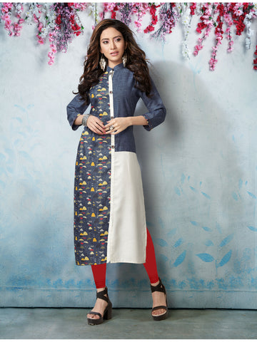 Designer and Beautiful Blue & White Color Straight Cut Kurti