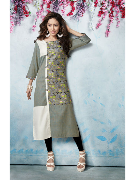Designer and Beautiful Grey & White Color Straight Cut Kurti