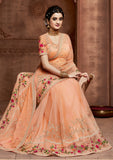 Designer Light Orange Colour Saree