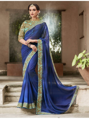 Beautiful Navy Blue Pure Georgette Printed Saree