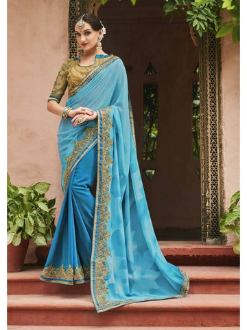 Beautiful Light Blue Pure Georgette Printed Saree