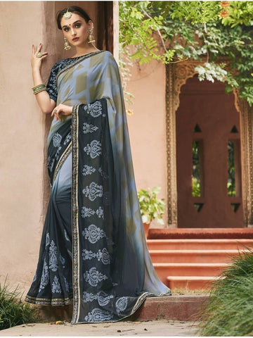 Beautiful Grey & Black Pure Georgette Printed Saree