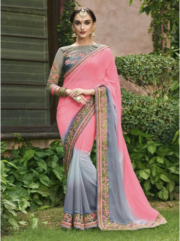 Beautiful Peach & Grey Royal Chiffon Georgette Printed Saree