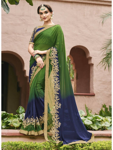 Beautiful Green & Navy Blue Royal Chiffon Georgette Printed Saree