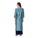 Blue Soft Silk Solid Straight Cut Kurti