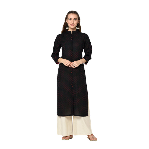 Black Cotton Solid Straight Cut Kurti