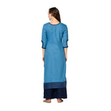 Sky Blue Cotton Solid Straight Cut Kurti