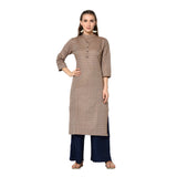 Dark Cream Cotton Printed Straight Cut Kurti